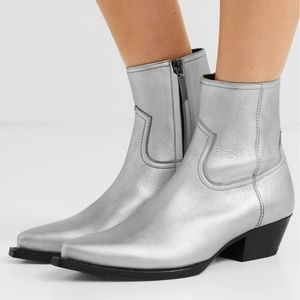 NEW Saint Laurent Lukas Leather Ankle Boots Silver